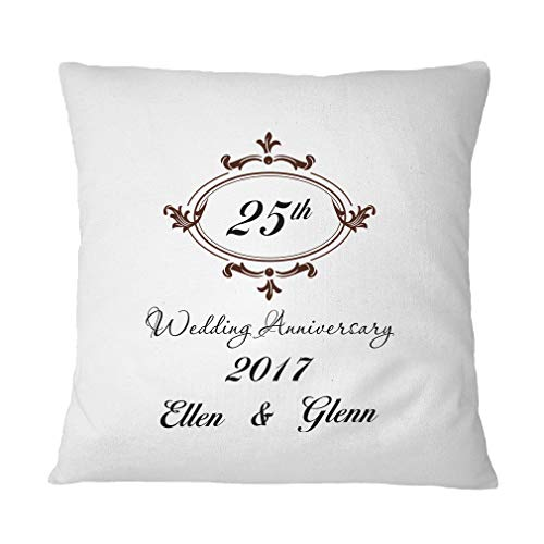Style In Print Personalized Custom Text Wedding Anniversary 25th Frame Polyester Accent Throw Case for Couch Sofa Bed Home Decor Pillow Cover - Pillow & Cover Set