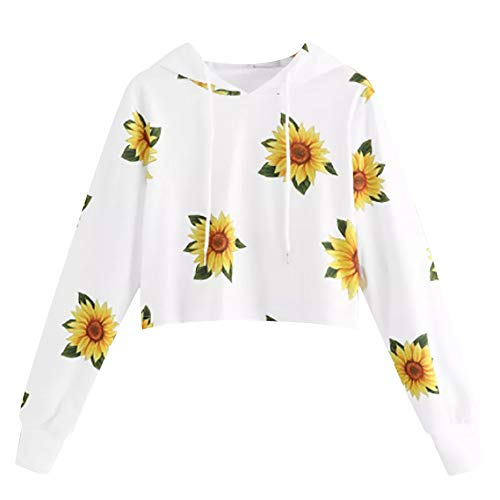 Xinantime Simple White Short Hooded Flower Printed Sweatshirt Blouse Colorblock Hoodie Pullover Jumper Tops for Teen Girl