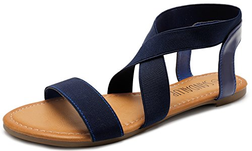 SANDALUP Elastic Ankle Strap Flat Sandals for Women Navy Blue 08 (Best Looking Walking Shoes For Women)