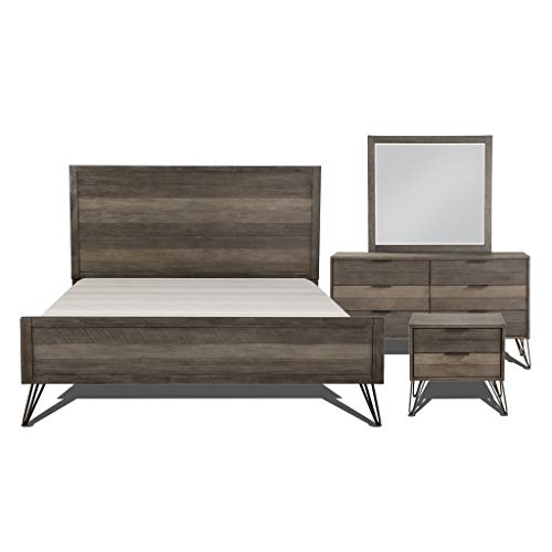 Lexicon 181604K-1CK Bedroom 4-Piece Set Cal King Gray California King Set Dresser