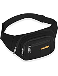 Fanny Pack for Women and Men Waterproof Hip Bum Bag Waist Pack Bag Suitable for Outdoors Workout Traveling Casual Running Hiking Cycling Dog Walking Fishing (Black)