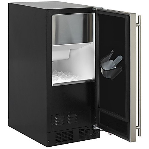 Marvel/Div Northland ML15CLS1LS 15'' Ice Maker with Gravity Drain, Black Cabinet, Stainless Steel Door, Clear Cube, Frost Free, Left Hinge, 120V/60 Hz