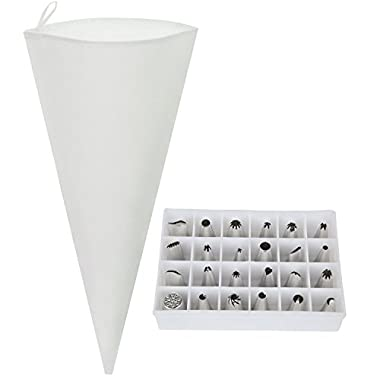 Reusable Cake Decorating Icing Supplies- Piping Pastry Bag (18 ) and Tip Set- 24 Pieces with Storage Box