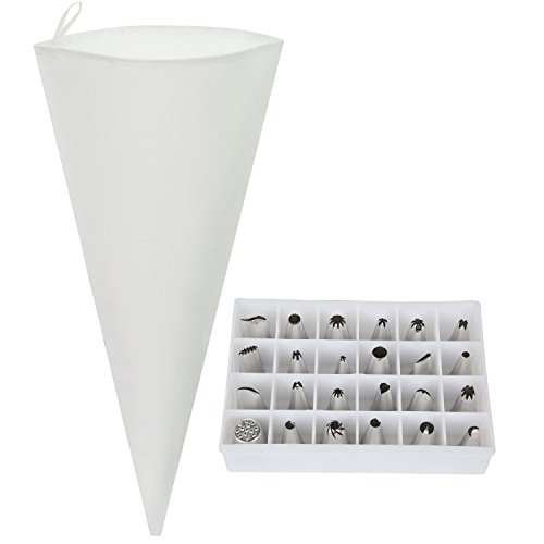 Reusable 18 Pastry Bag and Tip Set - Cake Decorating Icing Supplies - 24 Pieces with Storage Box