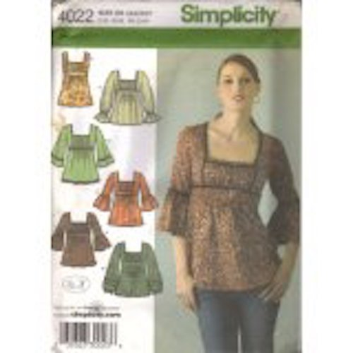 Simplicity 4022 Misses Tunic Tops Size (14, 16, 18, 20, 22)