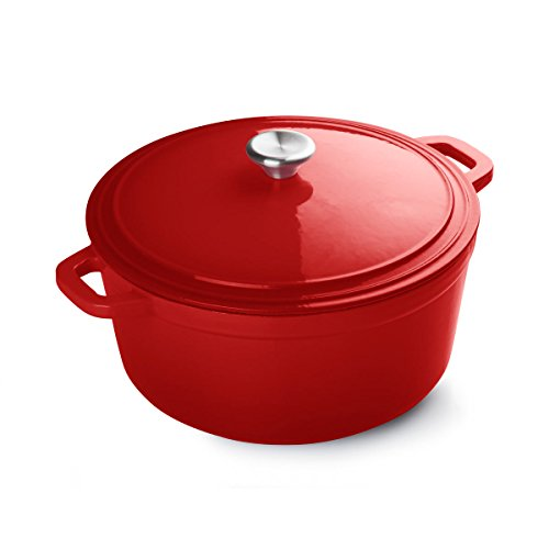 FortheChef 7 Quart Porcelain Enameled Cast Iron Round Dutch Oven, Red