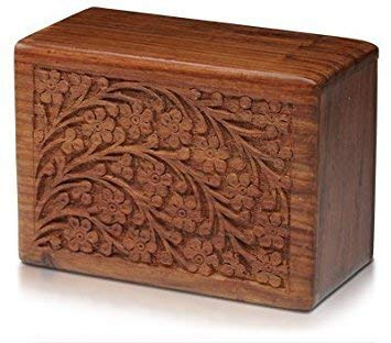 Hand-Carved Rosewood Urn Box (XX-Large) by Bogati