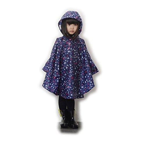 LOSORN ZPY Kinder Mädchen Stern Regenjacke Regenmantel mit Kapuze Wasserdicht Softshelljacke Regenponcho,blau,L
