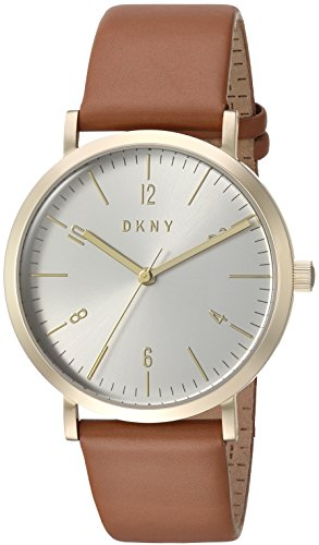 DKNY Women's 'Minetta' Quartz Stainless Steel and Leather Casual Watch, Color:Brown (Model: NY2613)