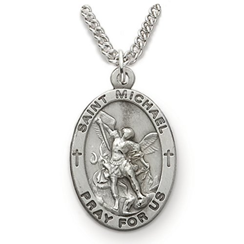 TrueFaithJewelry Sterling Silver Oval Saint Michael Patron of Police Medal, 7/8 Inch ()