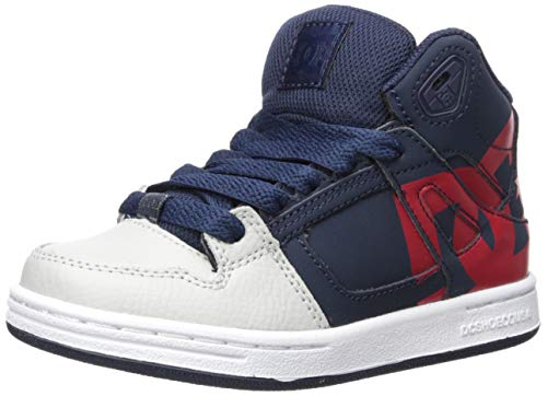 DC Boys' Pure HIGH-TOP SP Skate Shoe, Navy/Grey, 1.5 M M US Little Kid ()