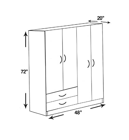 Amazon.com: Ready to Assemble 48 Inch 4 Door Wardrobe Closet Bedroom ...