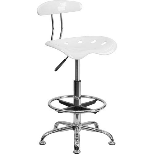 Parkside Vibrant White and Chrome Drafting Stool with Tractor Seat