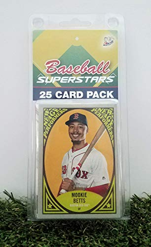 Boston Red Sox- (25) Card Pack MLB Baseball Different Red Sox Superstars Starter Kit! Comes in Souvenir Case! Great Mix of Modern & Vintage Players for the Ultimate Red Sox -