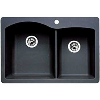 Superbe Blanco 440215 Diamond Double Basin Drop In Or Undermount Granite Kitchen  Sink, Anthracite