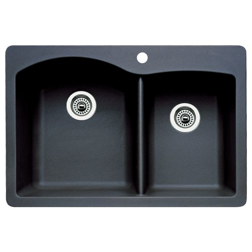 Blanco 440215 Diamond Double-Basin Drop-In or Undermount Granite Kitchen Sink, Anthracite