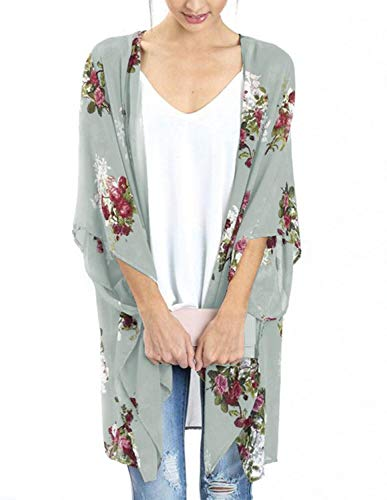Womens Swimsuit Cover up Cardigans Casual Kimono Cardigan Capes Light Green L