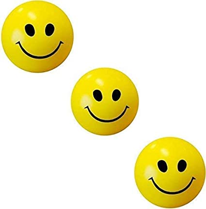 ToyStack Smiley Face Squeeze Ball (Yellow) - Set of 3