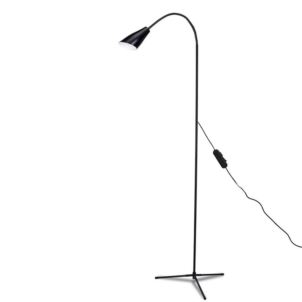 Dimmable LED Floor Standing Lamp Reading Light, Clip-on Lamp with USB line (4 Color Modes, 8W, Floor Light for Living Room, Bedroom, Office) (Black)