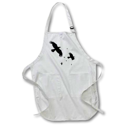 3dRose A Murder of Crows- Animal, Bird, Birds, Crow, Halloween, Myth, Mythological, Mythology, Silhouette - Full Length Apron, 22 by 30-Inch, Black, with Pockets (apr_78697_4) -