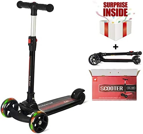 New Olym 3 -in -1 Kids Kick Scooters with Removable Seat Great for Toddler Boys Girls Mini Deluxe Glider Scooter Adjustable Height with PU Flashing Wheels for Children 3-15 Years Old