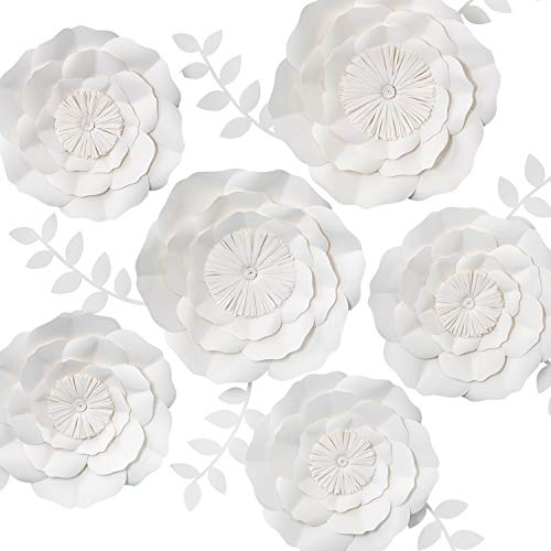 KEY SPRING 3D Paper Flower Decorations, Giant Paper Flowers, Large Handcrafted Paper Flowers (White, Set of 6) for Wedding Backdrop, Bridal Shower, Wedding Centerpieces, Nursery Wall Decor]()