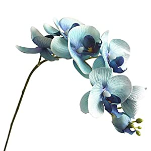 Gyswshh 1Pc Artificial Butterfly Orchid 7 Heads Fake Flower DIY Wedding Party Decor Blue 11