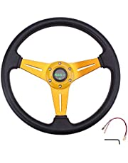"""RASTP Universal Racing Steering Wheel 13.8""""/350mm 6 Bolts Grip PU Foaming Material & Aluminum with Horn Button for Car Boat Truck Yacht"""