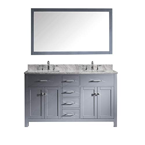 Virtu USA Caroline 60 inch Double Sink Bathroom Vanity Set in Grey w/ Square Undermount Sink, Italian Carrara White Marble Countertop, No Faucet, 1 Mirror - -