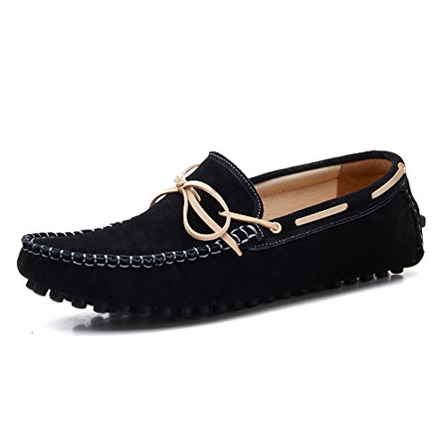Nubuck Casual Shoes (2017-2hei8.5 SUNROLAN Men's Casual Genuine Nubuck Leather Outdoor Boat Shoes Driving Moccasins Slip-On Loafers Black US 8.5)