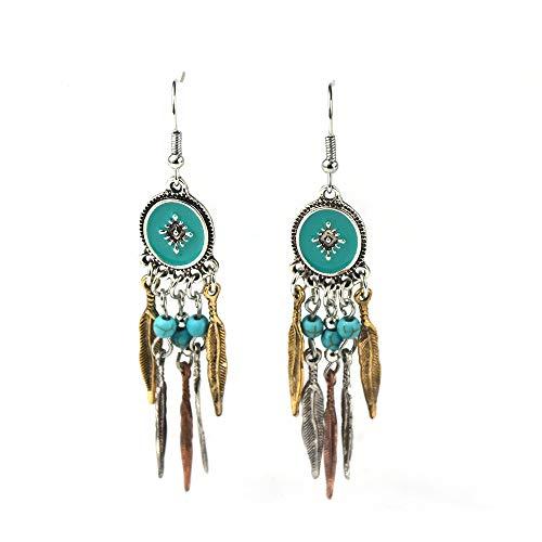 SILVEAM Turquoise Earrings Feather Boho Earrings Vintage Style Drop Earrings Alloy Tassel Earrings Hypoallergenic Earrings Dangling Earrings for Women Wedding Bridal Jewelry Earrings for ()
