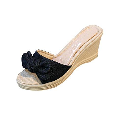 Transer® Damen Keilabsatz Slipper Bowknot Künstliche PU+Stoff Blau Schwarz Hausschuhe (Bitte achten Sie auf die Größentabelle. Bitte eine Nummer größer bestellen. Vielen Dank!) Schwarz