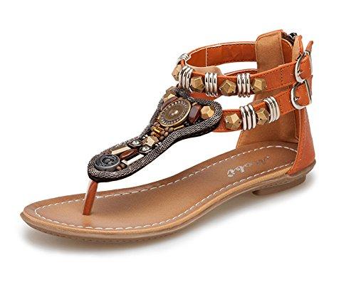 las mujer Bohemia Sandalias T-Correa Romano Retro Planas Zapatos De Hebilla,Sandalias del Verano Marrón