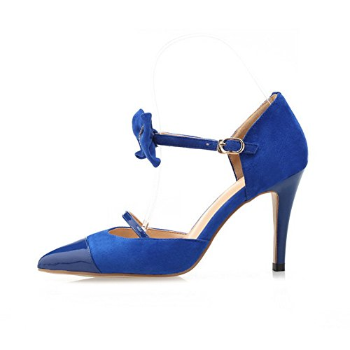Frosted High Heels Pointed Toe Women's Solid AgooLar Sandals Buckle Blue Closed 078xXXTw