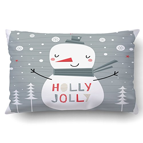 Emvency Pillowcases Xmas Dec Greeting Card Holly Jolly Creative Hand Drawn Card With Cute Snowman Pillow Case Cushion Cover Case Throw Pillow Case Lumbar 20x30 Inch Christmas Vector Clipart