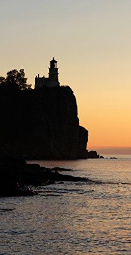 Pictures Lighthouse Split Rock (Split Rock Lighthouse, custom size canvas art photo print, 19x37 inches large wall decor)