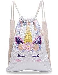 Unicorn Sequin Drawstring Backpack Mermaid Sequin Bag Magic Reversible Glittering Bag Unicorn Gift for Girls Boy