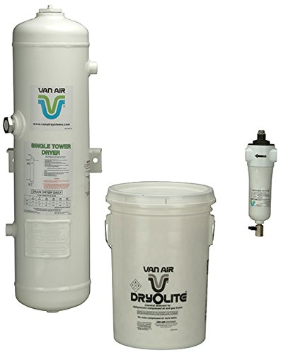 Van Air Systems 80-1500 D8 Compressed Air Dryer, Includes 1 µ m F200 Series After-Filter and 1 50 lb Dry-O-Lite Desiccant, No Power Requirement/Moving Parts, Outdoor or Indoor Installation, 50 CFM, 3/4' NPT, White (Pack of 3) 3/4 NPT