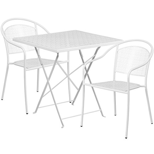 MFO 28'' Square White Indoor-Outdoor Steel Folding Patio Table Set with 2 Round Back Chairs