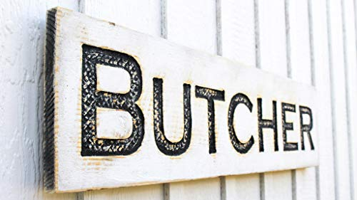 """Carved BUTCHER large sign 40""""x10""""-Farmhouse Kitchen Decor Americana Signs"""