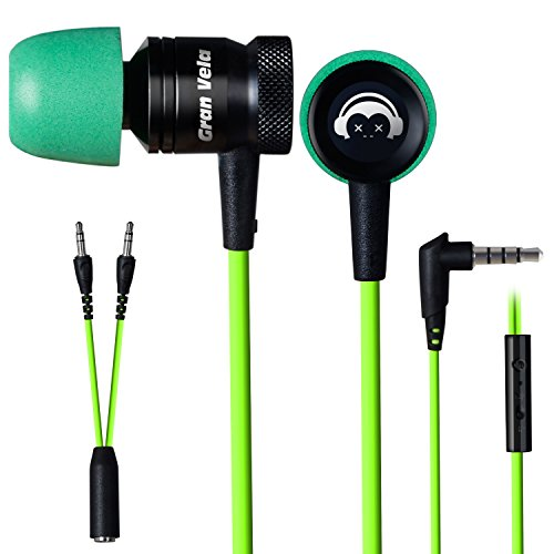 - Granvela G10 In-Ear Headphones with Enhanced Hammering BASS and Microphones, Green