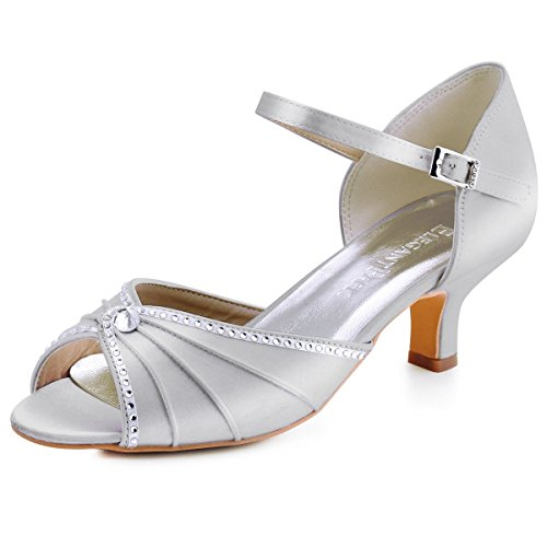 ElegantPark HP1623 Women Sandals Mid Heel Pumps Peep Toe Pleated Rhinestones Satin Evening Wedding Shoes Silver US 9