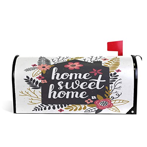 Wamika Home Sweet Magnetic Mailbox Cover MailWraps, Flower and Leaves Large Mailbox Wraps Post Box Garden Yard Home Decor for Outside Oversized 25.5
