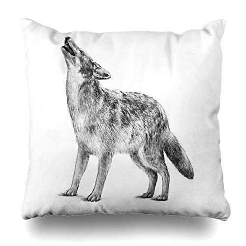 - Ahawoso Throw Pillow Cover Howling Gray Timber Wolf This Sketch Hunter is Endangered Wild That Scary Creature Design Graphic Home Decor Cushion Case Square Size 20 x 20 Inches Zippered Pillowcase