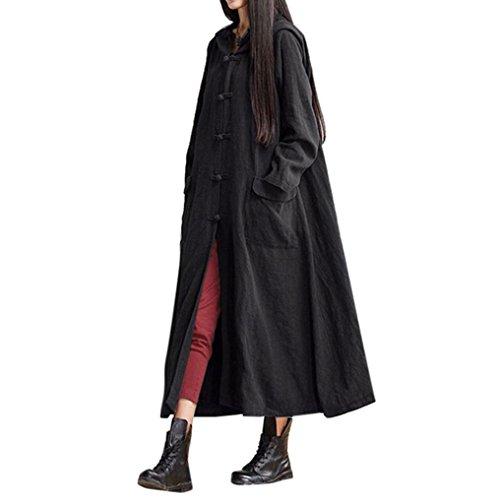 Teresamoon Clearance Women Hooded Casual Loose Long Maxi Coat Jacket (Black, XXXXL) (Long Jacket Skirt Suit)