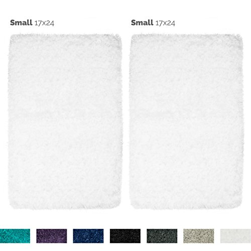 Nestl Bedding 2 Pack Small Shaggy Bath Rug with Non-Slip Backing Rubber - Super Soft Bathroom Shower Bath Tub Rug made of Luxury Microfiber, Machine Washable, Plush Cozy Mat - White