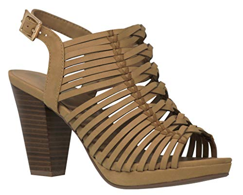 - MVE Shoes Womens Thick Platform Chuncky Heeled Sandals Criss Cross Straps, Lucerne Sand nb 10