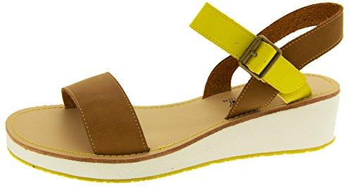Betsy Mujer Cuero del Faux Sandalias Marrón y amarillo