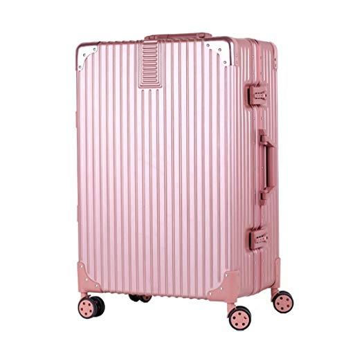 アルミフレームトロリーケース24インチ200,000ホイールスーツケーススーツケースラゲッジレトロラゲージバッグ (Color : ピンク, Size : M) M ピンク B07QHZCJWG