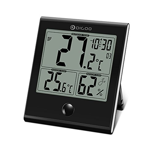 Digoo DG-TH1180 Home Comfort Indoor and Outdoor Glass Panel Thermometer Hygrometer Humidity Monitor # N001